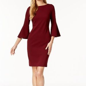 Calvin Klein Faux-Pearl Bell Sleeve Dress
